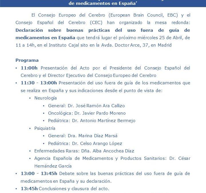 Declaración sobre buenas prácticas del uso fuera de guía de medicamentos en Espa